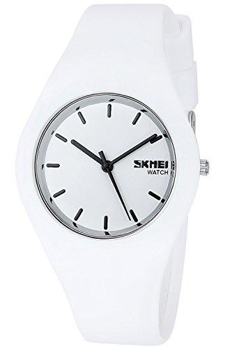 Armbanduhr für Herren oder Damen, Weich Silikon Armband Unisex Uhren (Pink) (Weiß)
