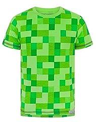 Minecraft Camiseta de Manga Corta Verde para Niños - All Over Creeper