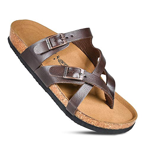 Memory Foam Cork Footbed Slides for Women Sandals with +Comfort & Arch Support (Celestis Brown, Size 9)