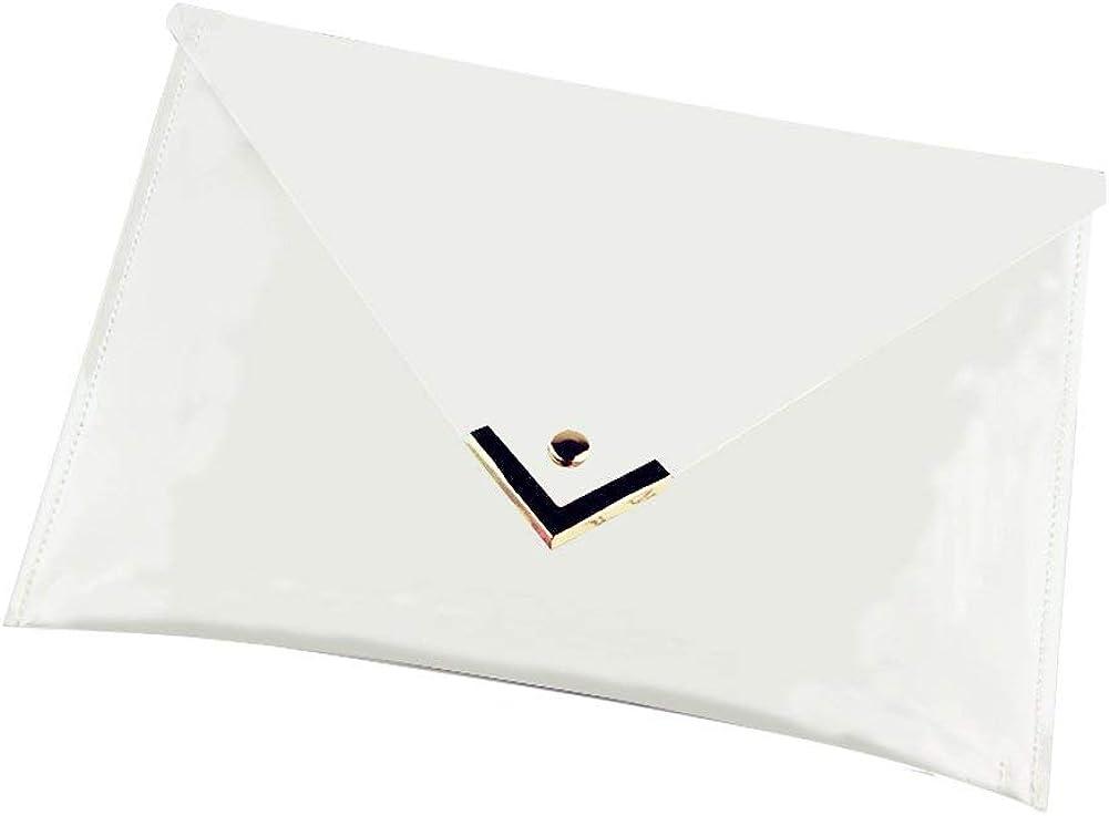 Mengsha's Transparent PVC Stylish Purse Clear Handbag Clutch with Gold Edges