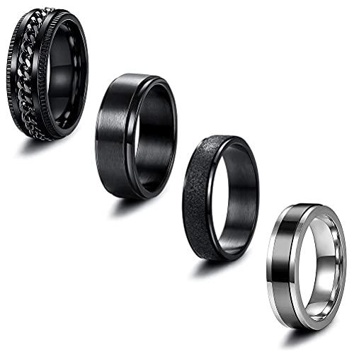 Yuffoo 4 anillos de acero inoxidable, anillos anchos vintage, anillos de amistad con anillos de cadena, anillos giratorios para hombres y mujeres, anillos de boda geniales