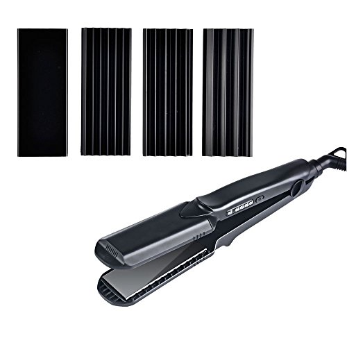 crimping irons Hair Crimper Flat Iron 4 in 1 Hair Straightener Curling Iron Small Medium Large Waver Curler Ceramic Crimping Irons Interchangeable 1.5 Inch Plates Hair Styling Tools