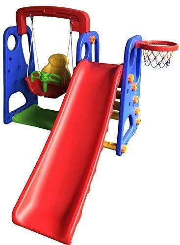 3 en 1 oscilación del patio para los niños, columpios para niños, toboganes y una cesta de baloncesto juguetes de jardín para niños mayores de 3 años,Multi colored