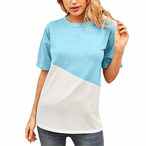 LYAZFC Camiseta de Manga Corta con Cuello Redondo y Cuello Redondo Cruzado de Verano para Mujer