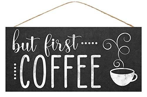 But First Coffee Wooden Sign Black White (12.5 Inches x 6 Inches)