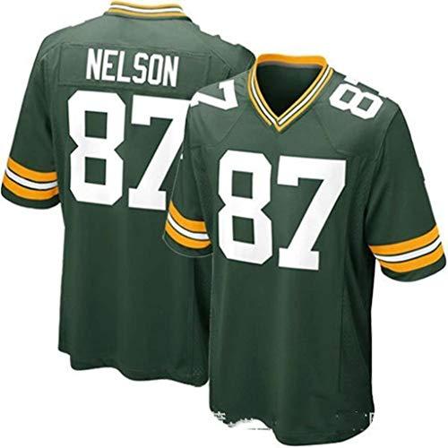 ZJFSL NFL Trikot Green Bay Packers Trikots Fan Edition Stickerei NFL Trikot Kurzarm Sport Top T-Shirt,green-87,S