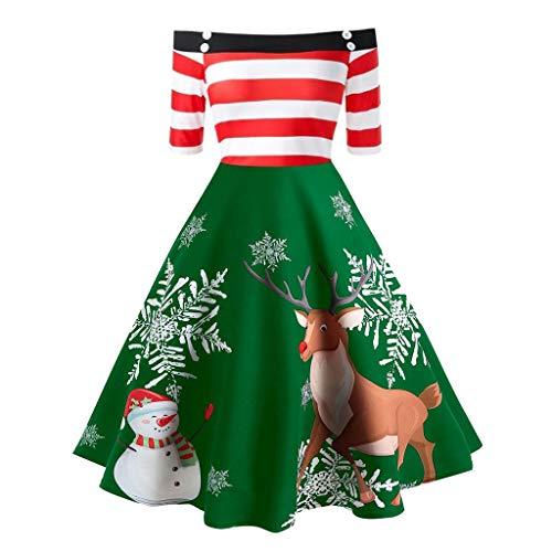 TWIFER Damen Weihnachtskleider Damen Off Shoulder Print Eine Linie Swing Dress Evening Party(X2-Grün,XL)