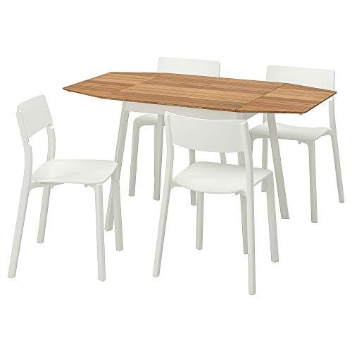 JANINGE/IKEA PS 2012 mesa y 4 sillas 80x74 cm bambú/blanco