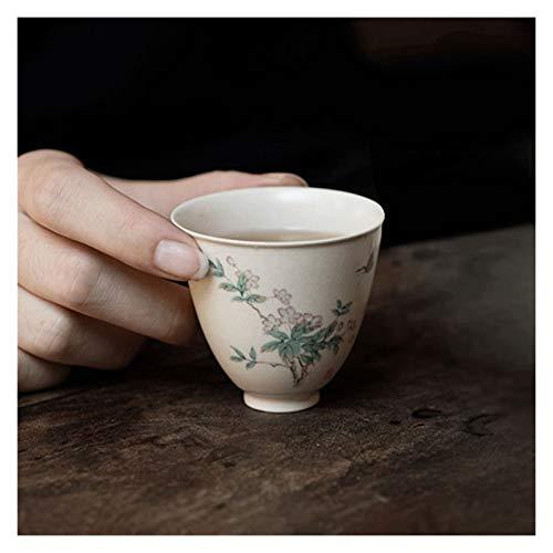 YANGYUAN Handcraft Sake Tea Cups Begonia Flowers Pattern Hand-drawn Tea Cups Traditional Teacup Ceramic Kungfu Tea Cup No Handles, Housewarming Gift