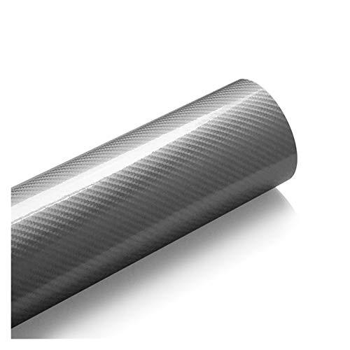 Vinilo Coche Tablet 5D fibra de carbono de envolver la película del vinilo de la motocicleta etiquetas adhesivas y etiquetas Accesorios for automóviles Car Styling 2 (Color Name : Silver)