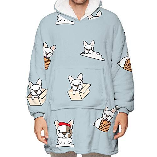 Manta con capucha de gran tamaño, cálida para invierno, puede llevar a dos lados, cordero, terciopelo, suéter para el hogar, hombres y mujeres, talla única.