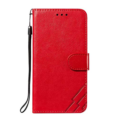 Motorola Moto G9 Play Hülle, stoßdämpfende Brieftasche, Klapphülle aus PU-Leder mit Kartenschlitzen, Geldbeutel, Ständer, magnetisch, für Motorola Moto G9 Play, Rot