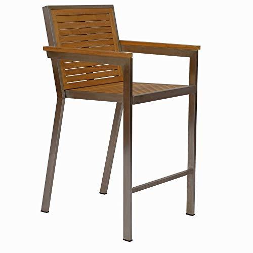 Teako Design Dosazzo - Silla apilable (Madera de Teca Maciza y Acero Inoxidable y Teca, Resistente a la Intemperie)
