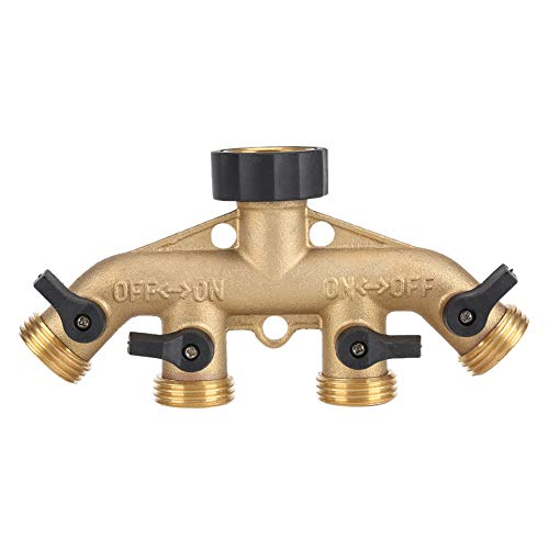 Duokon 3/4 inch Brass 4 Way Hose Pipe Splitter Nozzle Switcher Tap Connectors for Garden Irrigation(American Thread 3/4)
