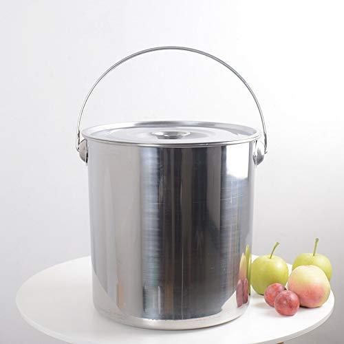 Sopa de acero inoxidable cubo cubo con tapa de aceite tambor de almacenamiento de agua Muebles Cocina olla comercial bandeja barril portátil (Color : 22L)