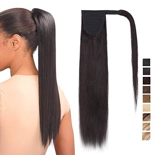 "20""(50cm) Coleta Postiza Larga Pelo Natural Clip #1B Negro Natural Extensiones de Cabello Humano 100% Remy Lisa Wrap Around Ponytail Extension (95g)"