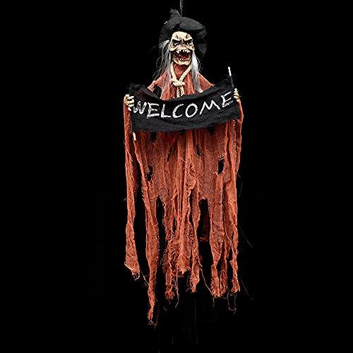 MikeyBee Halloween Colgante Fantasma casa embrujada Colgante Grim Reaper Accesorios de Terror Puerta de casa Bar Club Decoraciones de Halloween(Amarillo)