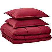 AmazonBasics Comforter Set, King, Burgundy, Microfiber, Ultra-Soft