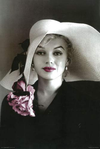 Hotstuff Marilyn Monroe Poster Print with Hat Pink Flowers & Lipstick Photo 24