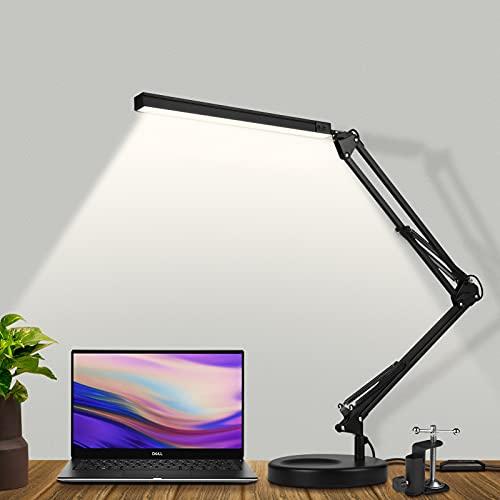 Lámpara de escritorio LED , lámpara de brazo oscilante SKYLEO con puerto de carga USB, luz suave para el cuidado de los ojos, lámpara de lectura ajustable de varios niveles para estudio, oficina
