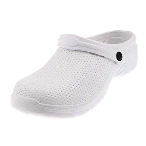 Sharplace Rutschfeste Clogs Trucker Arbeitsschuhe Sicherheitsschuhe Sicherheits Sandale Halbschuhe Gartenschuhe Hausschuhe Pantoffeln Gummischuhe - Weiß, EU 40