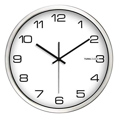 Everyday home Horloge murale minimaliste moderne silencieuse ronde grande horloge de conception numérique Horloge batterie opération quartz horloge, facile à lire cadre en métal avec cadran en verre