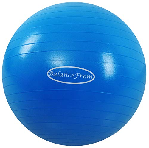 BalanceFrom Anti-Burst and Slip Resistant Exercise Ball Yoga Ball Fitness Ball Birthing Ball with Quick Pump, 2,000-Pound Capacity, Blue, 58-65cm, L