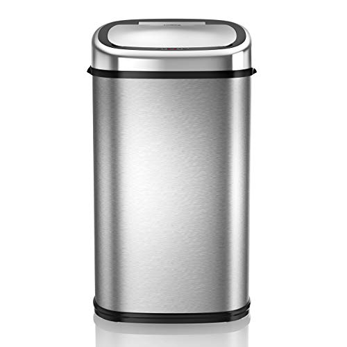 An image of the Tower T80901 Stainless Steel Sensor Bin with Automatic Soft-Close, Manual Override, 58L, Silver