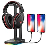 Blade Hawks RGB Headphone Stand, Gaming Headphone Stand with 2 USB Charging Ports, 3.5mm Aux Port,Headphone Holder for Gamers Gaming PC Accessories Desk