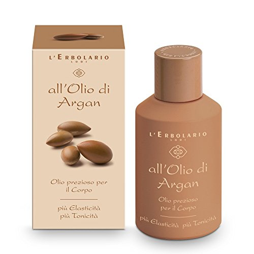 L'Erbolario Precious Body Oil - Argan Oil - Amber, Creamy Scent - Tones & Improves Skins Elasticity - Made with Extract Of Argan Leaves - Cruelty Free, No Silicones or Parabens, 4.2 oz