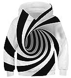 AIDEAONE Niño Niña Blanco Negro 3D Vórtice Capucha Sudadera Jersey Suéter con Capucha Pull-Over 8-11 Años