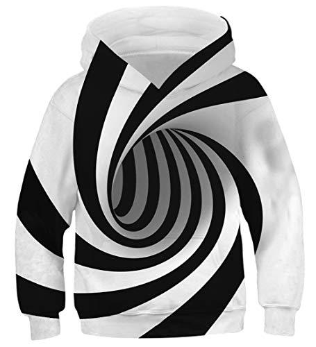 AIDEAONE Jungen Mädchen Wirbel Schwarz Weiß 3D Hoodie Pullover Hooded Sweatshirt 125-145cm