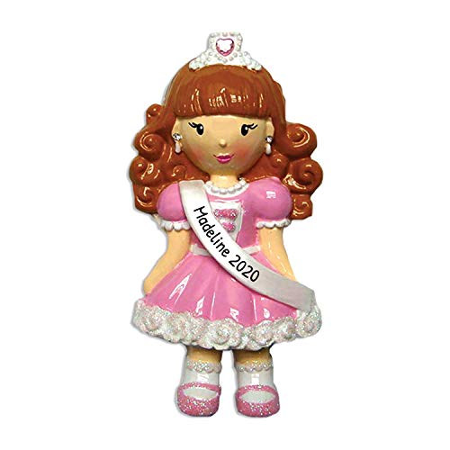 Personalized Child Pageant Girl Christmas Tree Ornament 2020 - Beautiful Princess Pink Dress Silver Crown Rhinestone Beauty Queen Brunette Ginger Baby Grand-Daughter Gift Year - Free Customization