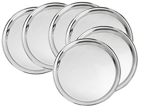 King International Stainless Steel Quarter Pate| Toddler Plate | Kids Dinner Plate | Set of 6 Mess Trays Great for Camping | 19.5 cm
