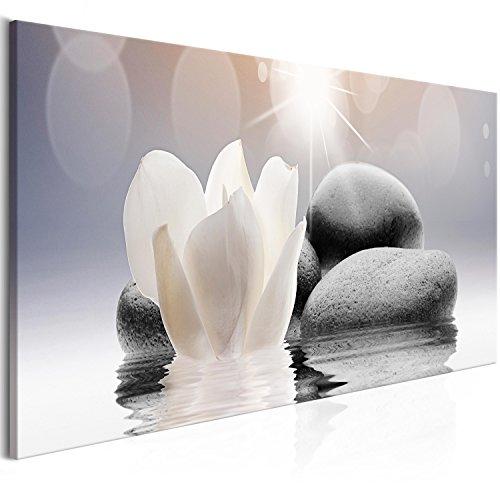 murando -Quadro Fiori Spa 135x45 cm Stampa su Tela in TNT XXL Immagini Moderni Murale Fotografia Grafica Decorazione da Parete 1 Pezzo Pietra Zen b-B-0268-b-a