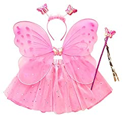 Package includes: 1 tutu skirt, 1 fairy wings, 1 wand, 1 headband Waist: 19-26inches, Length: 11inches, 3-6 years old (recommended) Fairy wings feature 2 elastic straps, lightwieght 3 layers Ultra-soft quality sheer tulle designed. Stretchy wide elas...