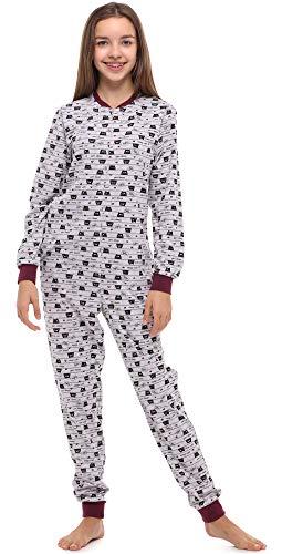 Merry Style Mädchen Jugend Schlafanzug Strampelanzug Schlafoverall(Melange/Wein/Katzen, 164)