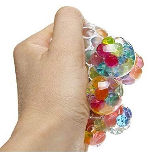 LG-Imports 1 x Glibberball Knautschball im Netz multifarben ca. 6cm Durchmesser, Anti Stressball Brain, Quetschball