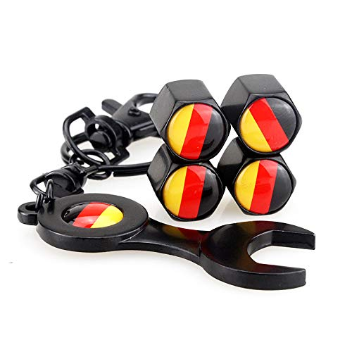 1 juego Bandera alemana DE Rueda Tapas de las válvulas de los neumáticos Ruedas antipolvo universales para automóviles Válvula de los neumáticos Cubierta del vástago + Llave antirrobo Llavero negro