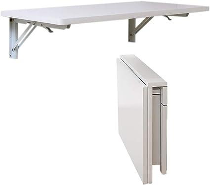 ADSL Mesa Mesa de comedor colgar de la pared Mesa plegable de madera maciza de doble pared Soporte de mesa lateral,Blanco,40 25cm//16 10in AYHa Montado en la pared plegable Mesa de alas abatibles