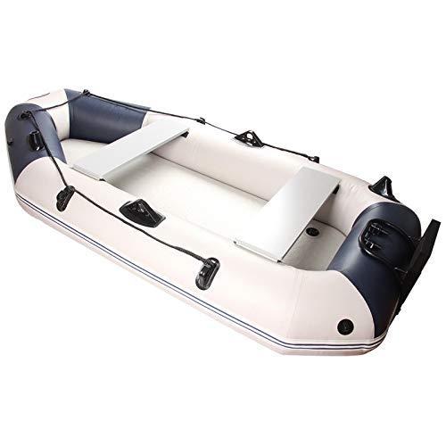 Deportes al aire libre Ocio Material de kayak inflable plegable Dinghy Assault Boat Engrosamiento 0,70 mm Clip Net Kayak Barco de pesca inflable Conjunto completo de motor (Color: Blanco Tamaño: 23