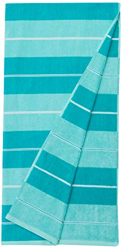 AmazonBasics - Toallas de playa de primera calidad, juego de 2 piezas, a rayas horizontales azul verdoso