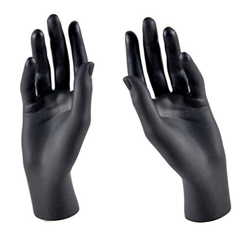 joyMerit Un Par de Maniquíes de Manos Femeninas, Modelo de Plástico para Mujer, Negro, Manos Izquierda Y Derecha