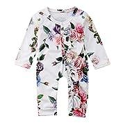 VISGOGO Newborn Baby Girls Kid Rose Flower Bodysuit Romper Jumpsuit Outfits Clothes (6-12 Months)