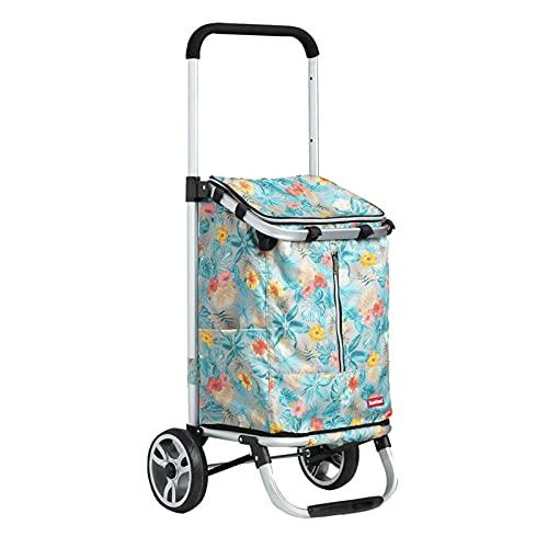 BIAOYU Carrito de la compra plegable con 2 ruedas, carrito de la compra telescópico, herramientas de equipaje y oficina, reutilizable (color de flores azules)