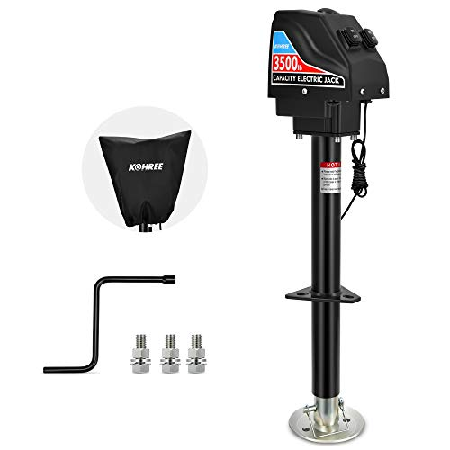 """Kohree Electric Trailer Jack 3500lbs, Heavy Duty RV Electric Power Tongue A-Frame Jack for Travel Trailer Camper, with Drop Leg & Weatherproof Jack Cover, 22"""" Lift, 12V DC, Black"""