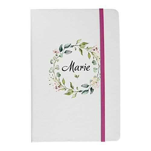 Notizbuch mit kostenloser Personalisierung - DIN A5 Tagesplaner & Tagebuch liniert - weiß/pink - deinzigartig (Blumenkranz)