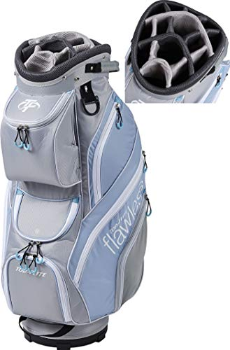2019 Top-Flite Womens Flawless Golf Cart Bag 14-Way Top 14 Pockets Beverage Cooling Pocket (Gray/Blue)
