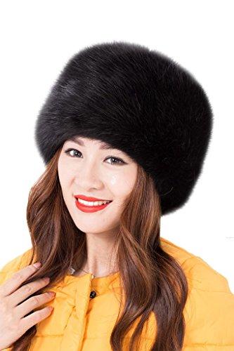 Tortor 1Bacha Women Warm Hat Russian Cossack Style Winter Faux Fur Cap Black