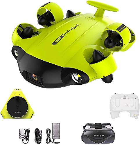 QYSEA FIFISH V6 ROV - Drone subacqueo con fotocamera 4K UHD, cuffie VR per immersioni fino a 330 piedistallo, campo visivo a 166°, supporto LED 4000 lm, movimento a 360°, blocco postura